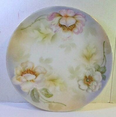 Antique PROV SAXE PORCELAIN PLATE - PINK AND WHITE ROSES Hand Painted ES Germany