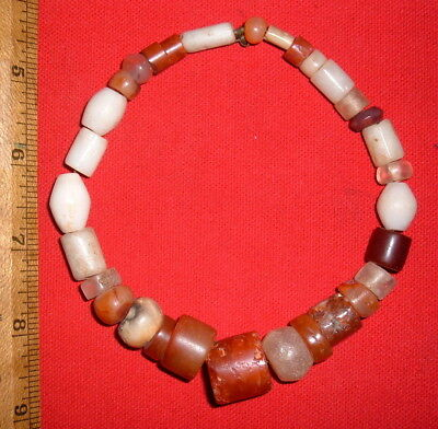 Strand of Big Sahara Neolithic Color Stone Beads, Prehistoric African Artifacts