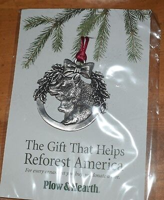 Plow & Hearth Pewter Christmas Ornament Black Bear,  New old stock