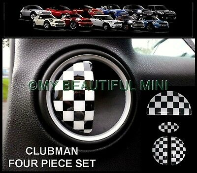 BMW MINI One/Cooper/S R55 CLUBMAN CHEQUERED FLAG Door Handle/Glove Box Covers