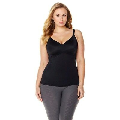 Rhonda Shear Comfortable Everyday Figure Molded Cup Camisole Black L NEW 406-902