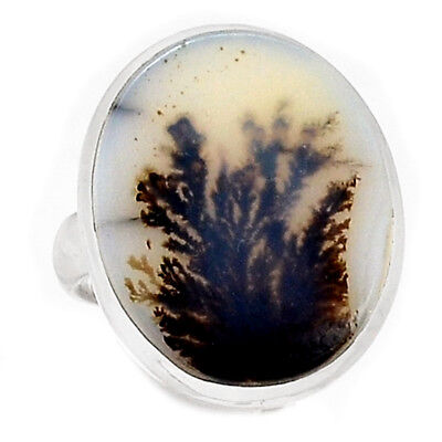 Scenic Dendritic Agate 925 Sterling Silver Ring Jewelry s.6.5 SDAR776