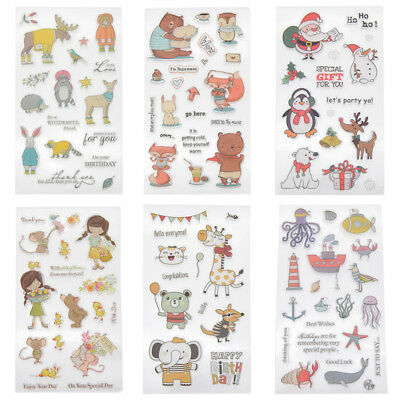 Mix Transparent Clear Silicone Stamps DIY Scrapbook Card Craft Christmas Animals