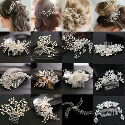 Crystal Pearl Flower Hair Pins Clips Bridesmaid Side Comb Wedding Bridal Jewelry