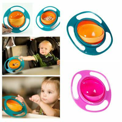 Baby Kids Non Spill Gyro Feeding Toddler Bowl 360 Rotating Avoid Food Spilling