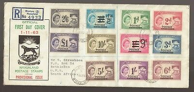 1963 NYASALAND Provisional Issue Set of 11 Registered FDC