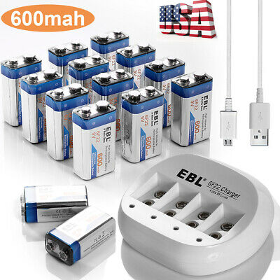 EBL Lot of 600mAh 9V Li-ion Rechargeable Batteries + 9-Volt Lithium Charger