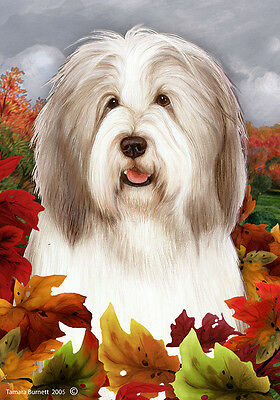 Garden Indoor/Outdoor Fall Flag - Fawn & White Bearded Collie 134831