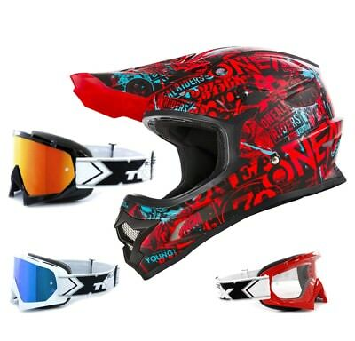 Oneal 3Series Helm Attack schwarz rot mit TWO-X Race Brille Crosshelm Motocross