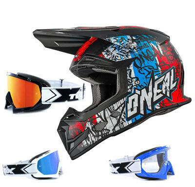 Oneal 5Series Enduro Crosshelm Vandal blau rot weiss TWO-X Race MX Crossbrille