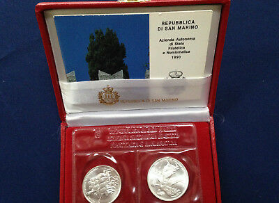 1990 San Marino World Cup Football Championship 2 Coin Silver Set E4986