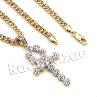 Lab diamond Micro Pave Egyptian Ankh Cross Pendant w/ Miami Cuban Chain BR102