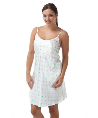 a68c6841f4 Size 12 14 Indigo Sky Ladies Silky Nightdress Chemise Slip Nighty White  Spot NEW