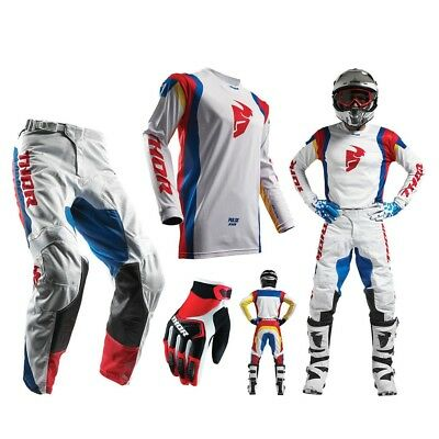 Thor Pulse Air Profile Combo weiss bunt Crosshose Enduro Jersey MX Handschuhe