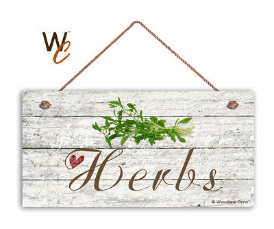 """Herbs Sign, Rustic Style Garden Sign,  5"""" x 10"""" Wood Herb Sign, Kitchen"""