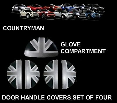 MINI One/Cooper/S R60 COUNTRYMAN BLACK UNION JACK Door Handle/Glove Box Covers