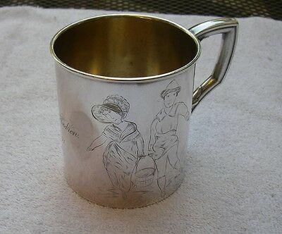 Antique SCANDINAVIAN Silverplate CHILD'S MUG-JACK & JILL Engraving-Dated 1891