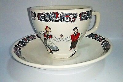 VTG Norway Traditional Dancers Cup Mug Saucer Figgjo Design Norwegian China