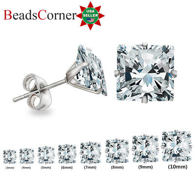 Surgical 316L Stainless Steel Stud Earrings Cubic Zircon Square Men Women 2PC
