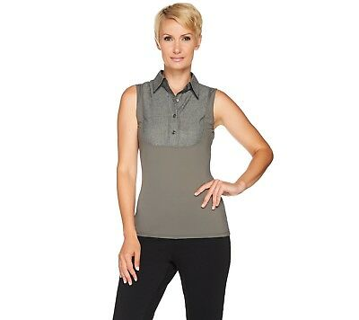 Kathleen Kirkwood Dictrac-Ease PointCollar Camisole Grey Chambray XS NEW A281344