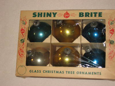 Shiny Brite Large Vintage Glass Christmas Ornament Lot of 6 with Box