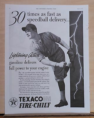 1937 magazine ad for Texaco - Gas 30 times faster than pitcher with speedball