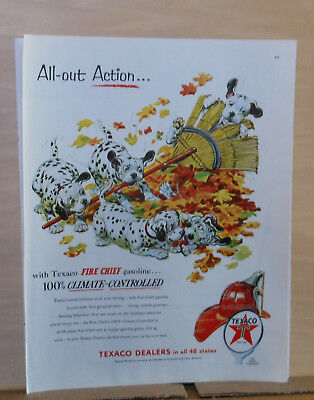 1954 magazine ad for Texaco - Dalmatian puppies play in pile of leaves, colorful