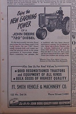 1958 newspaper ad for John Deere - model 720 Diesel tractor, Enjoy Earning Power