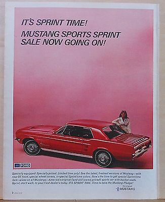 Vintage 1967 magazine ad for Ford - It's Sprint Time, Mustang Sports Sprint