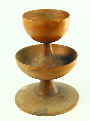 ! RARE Antique c.1800 Treen Ware Turned Wood Spice Tower, Open Salt Cellar Dish