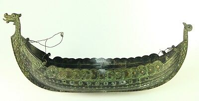 ! Vintage FINE Cast Metal Viking Ship Model Hull EDWARD AAGAARD Copenhagen