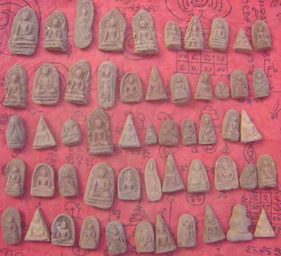 54Style Holy tablet Old Fired Clay by many famous monk Amulet Thai