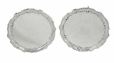 Pair Antique Georgian Sterling Silver Card Trays 1773 - Lion Crests
