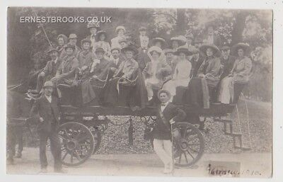 Early Postcard,Transportation, Guernsey, Horse Drawn Coach, People On Board, RP,