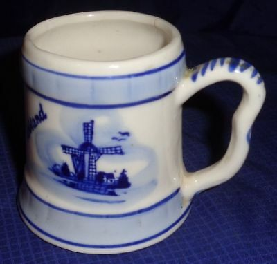 RP2094 Vtg Delft Blue China Pottery Hand Painted Mini Cup Mug Stein