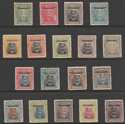 107 RHODESIA 1913 ADMIRAL set of 18 optd SPECIMEN mint only about  400  produced