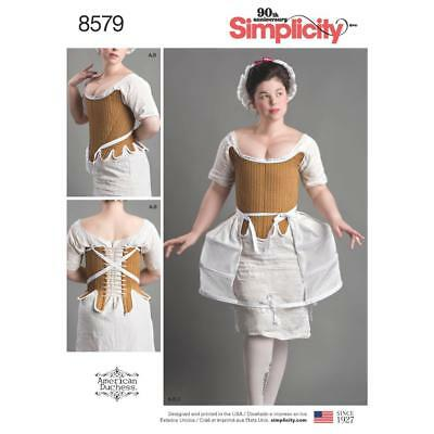 Simplicity Sewing Pattern Misses 18Th Century Corset Shifts Panniers 4-22 8579