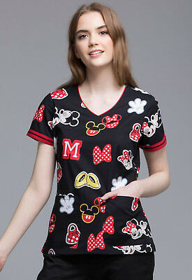 Mickey Mouse Cherokee Scrubs Tooniforms Disney V Neck Top TF644 MKPT