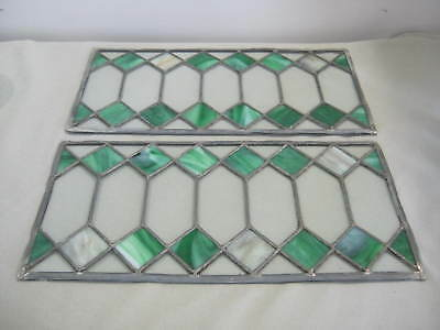 2 Art Deco Victorian Leaded Diamond Pane Stained Stain Glass Panels, Green White