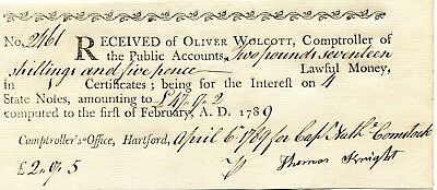 1789 Receipt For Interest On Interest Bearing State Notes Hartford Ct T Knight