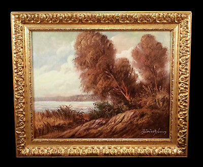 Vintage European Art Landscape Oil Painting Tonalist Autumn Trees Lake Bordozky