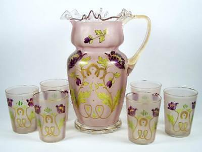 Art Nouveau Art Glass Pitcher w/ 6 Glasses Frosted & Clear Glass Purple Flowers