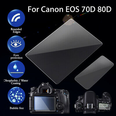 2X 9H Tempered Glass Screen Protector Film Guard For Canon EOS 70D 80D Camera
