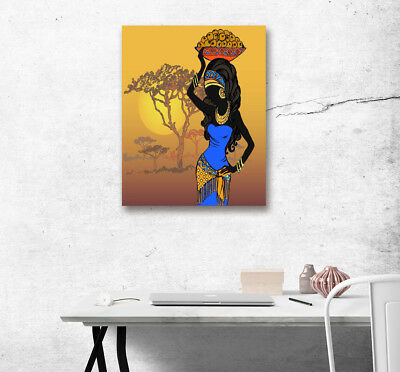 African Women Sunset Canvas Print Room Wall Artwork Poster Home Decor Painting