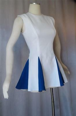 Vintage 1960s 70s BLUE & WHITE CHEERLEADER MINI DRESS / UNIFORM  - SM / MED
