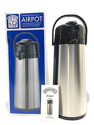 Commercial 74.4 Oz Airpot Bakers & Chefs Air Pot 2.2 L Hot & Cold 6-8 Hours JH49