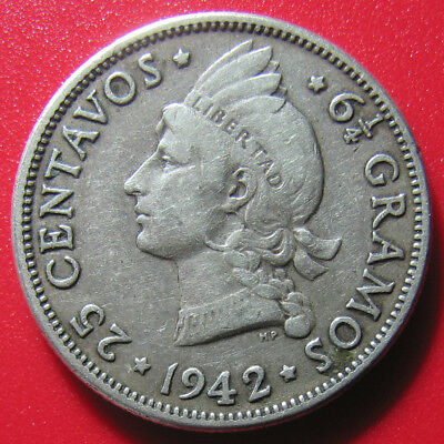 1942 DOMINICAN REPUBLIC 25 CENTAVOS SILVER NATIVE PRINCESS WWII COIN 6gr 24mm