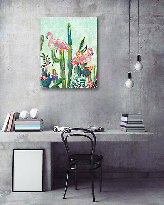 Green Plants Cactus Flamingo Art Canvas Printed Painting Posters Wall Home Decor