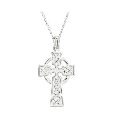 High Quality Double Sided Sterling Silver Celtic Irish Cross Made in Ireland