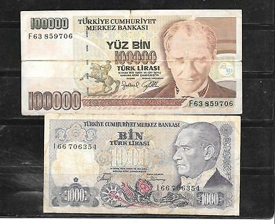 Turkey 2 Different Circ  Banknote Paper Money Currency Bill Note Collection Lot